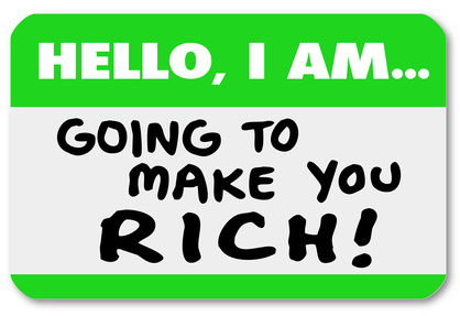 Hello I Am Going to Make You Rich Nametag Sticker Money Wealth