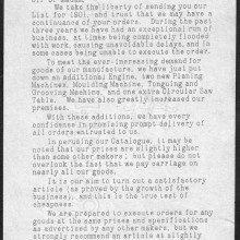 Sales letter from the beginning of the Twentieth Century