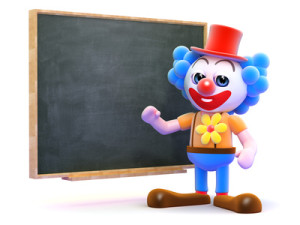 Clown teaches at the chalkboard