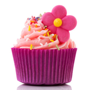 Colorful single cupcake in purple